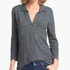 Standard James Perse 3/4 Sleeve Button Up Top